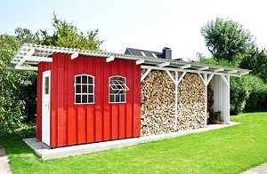 Kaminholzunterstand mit rückwand  Kaminholzregal & Kaminholzunterstand kaufen & selber bauen